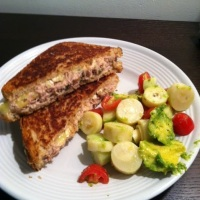 Tuna Melt with Brie and Heart of Palm Avocado Salad