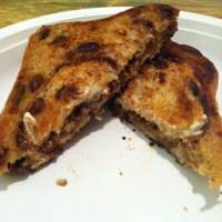 Grilled Cheese on Cinnamon Raisin Bread with Goat Cheese and Fig Butter