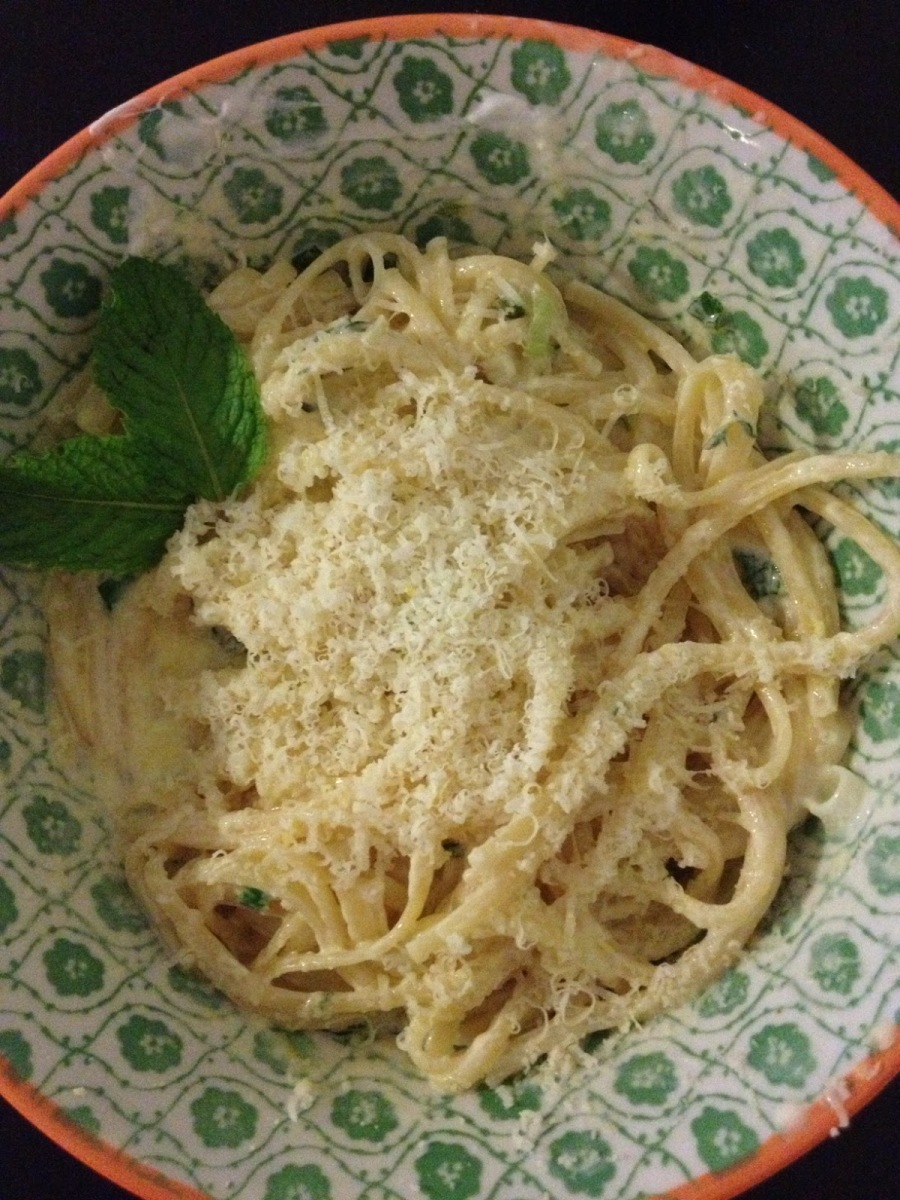 Greek Yogurt Pasta with Mint and Thyme