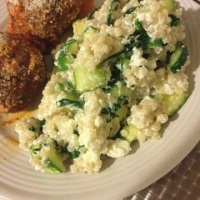 Israeli Couscous with Zucchini, Spinach, and Ricotta