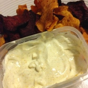 Beet and Sweet Potato Chips with Curried Yogurt
