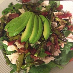 Chicken, Bacon, Avocado, & Roasted Asparagus Salad