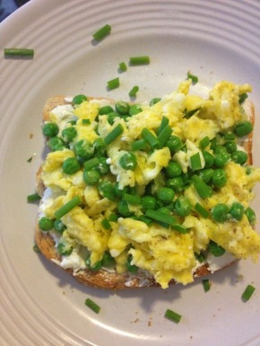 Goat Cheese Toast with Peas and Eggs