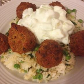 Lamb Kofta, Rice wtih Scallions and Peas, & CucumberYogurt