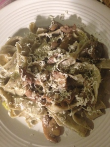 basil pasta with mushrooms