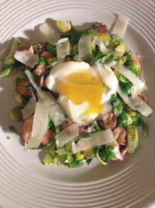 brussels sprouts, cremini, parm, and poached egg