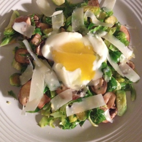 Shredded Brussels Sprouts with Cremini and PoachedEgg