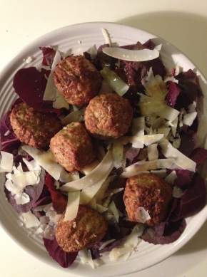 Turkey Meatball and Heirloom Red Spinach Salad