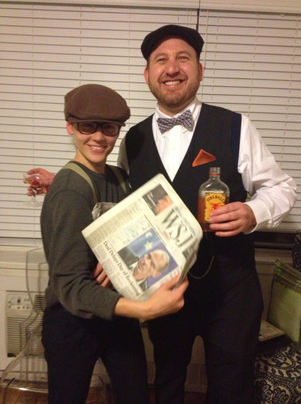 Costume Contest Winners: Cait as a newsie and Gaines looking quite dapper, right down to the pocketwatch