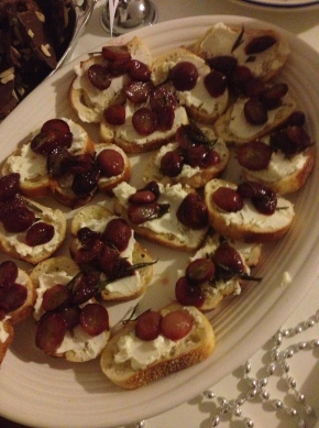 Roasted Rosemary Grape and Goat Cheese Crostini
