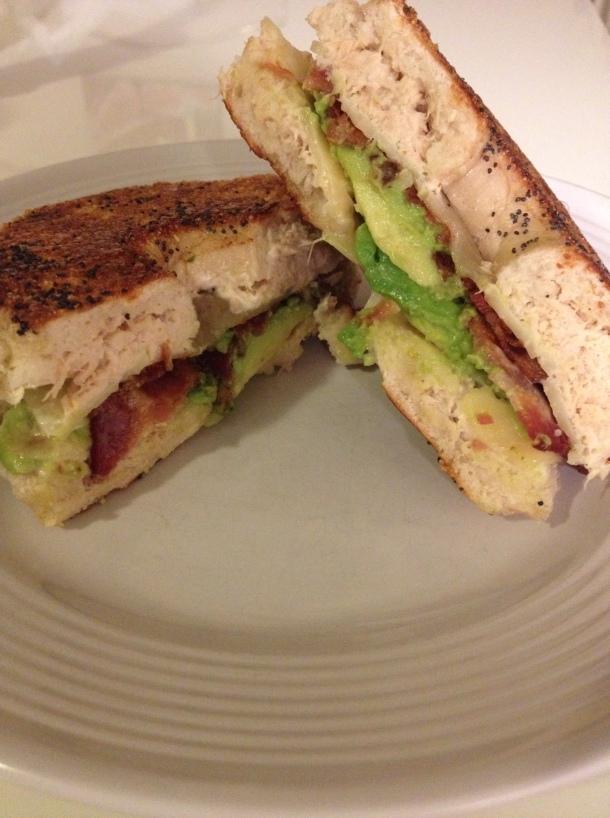 tuna avocado bacon cheddar bagel sandwich