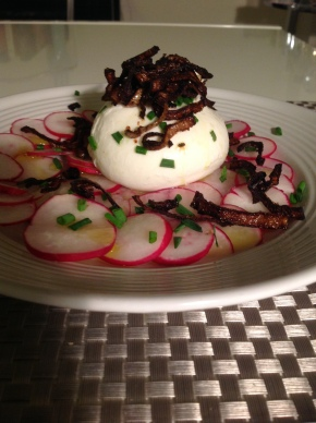 Seasonal Tastes: April – Burrata with Radishes and Fried Shallots