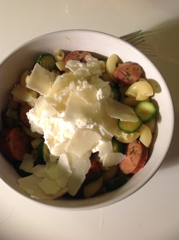 Pasta with Sausage, Zucchini, and Ricotta