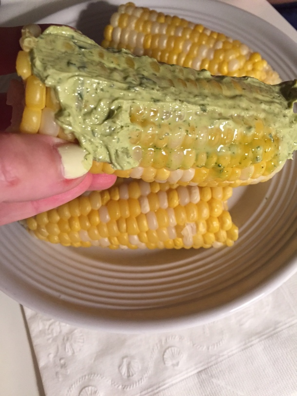 corn with basil butter
