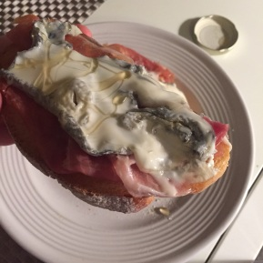 Toast with Prosciutto, Creamy Goat Cheese, and Honey