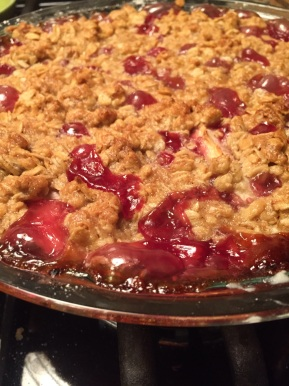 White Nectarine and Raspberry Fruit Crisp