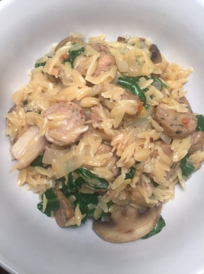 Creamy Orzo with Sausage, Mushrooms, andSpinach