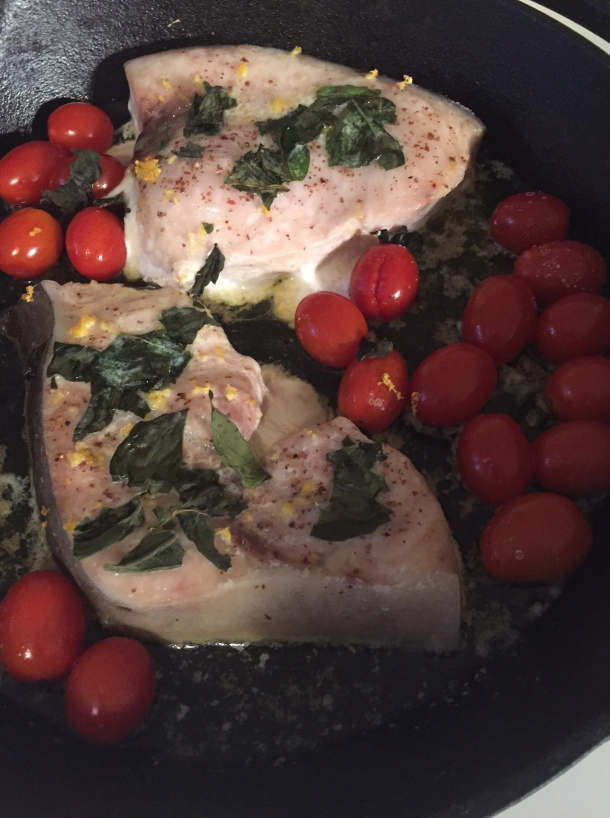 swordfish with basil and tomatoes