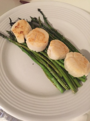 Scallops over Truffled Asparagus