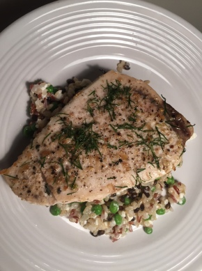 Lemon Pepper Swordfish Over Rice with Feta and Peas