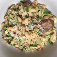 Pasta with Shredded Brussels Sprouts, Bacon, and Mushrooms