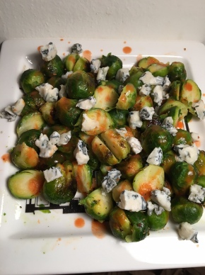 Buffalo Brussels Sprouts with Blue Cheese