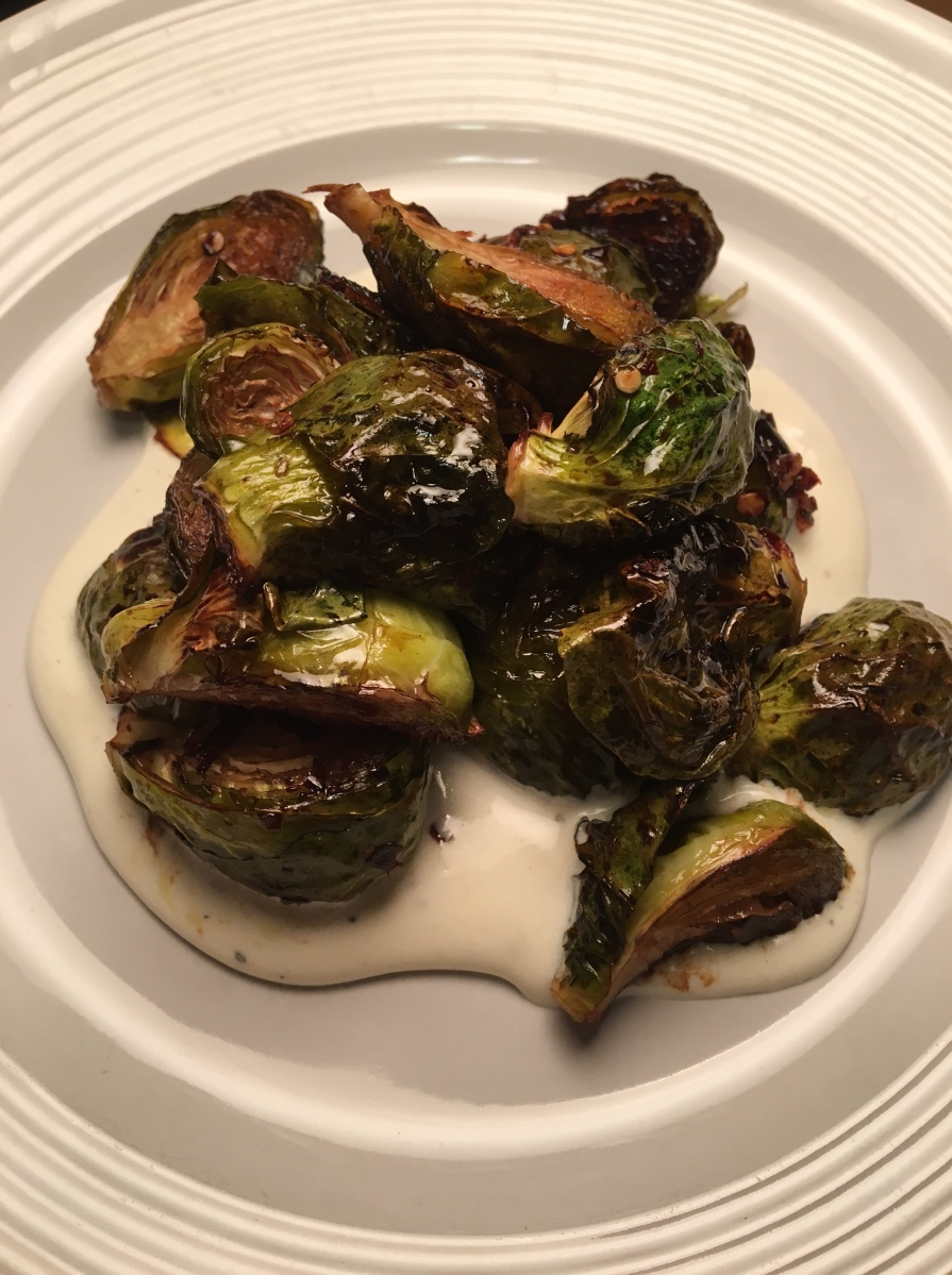 Seasonal Tastes: February 2017 - Honey and Chili Brussels Sprouts over Whipped Ricotta