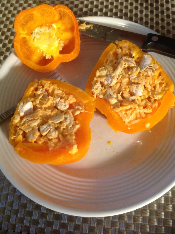 buffalo chicken stuffed peppers7
