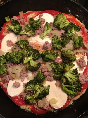 sausage broccoli and onion skillet pizza7