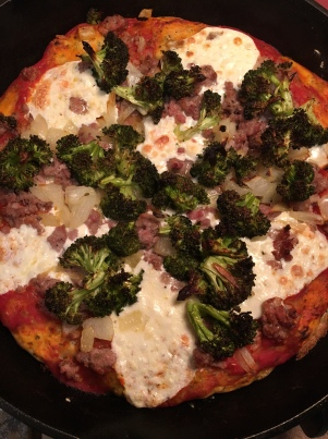 sausage broccoli and onion skillet pizza8