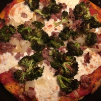 Sausage, Broccoli, and Onion Skillet Pizza