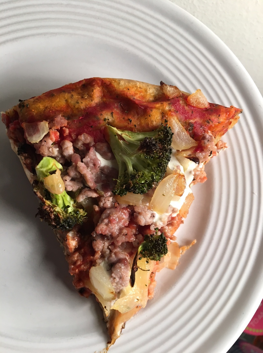 sausage broccoli and onion skillet pizza9