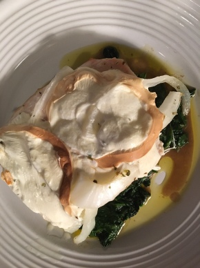Turkey Cutlets with Smoked Mozzarella overSpinach