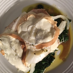 Turkey Cutlets with Smoked Mozzarella over Spinach