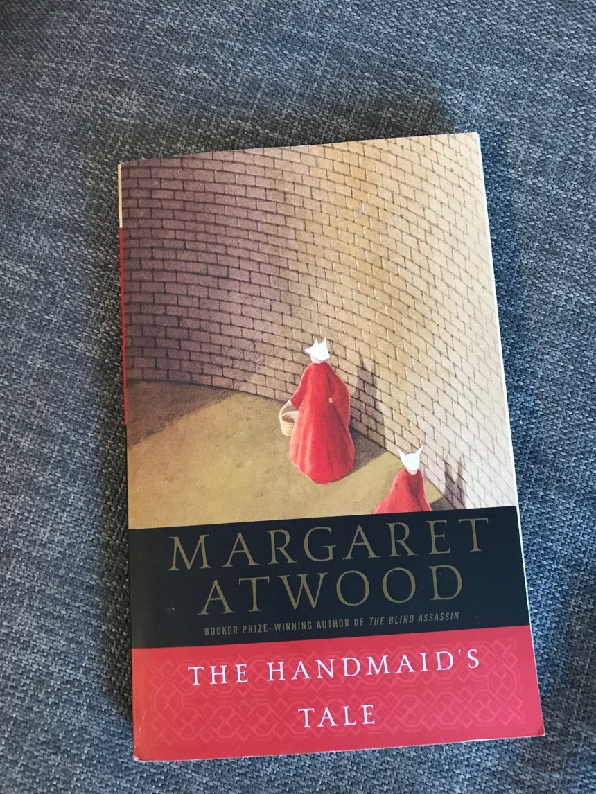 reading list - park bench - handmaid's tale