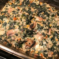 Spinach and Mushroom Israeli Cous Cous Bake