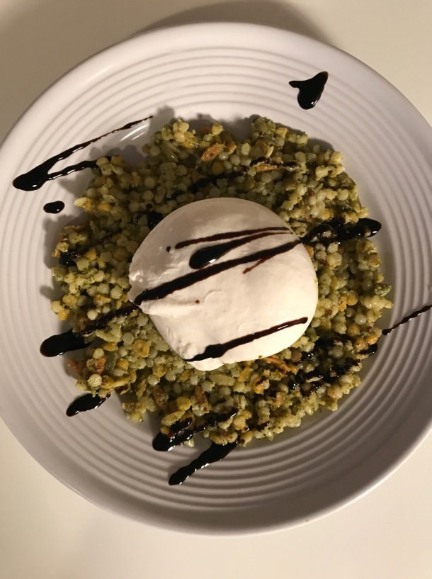 Israeli Cous Cous with Pesto and Burrata1