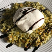 Israeli Cous Cous with Pesto and Burrata