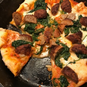 Meatball and Spinach SkilletPizza