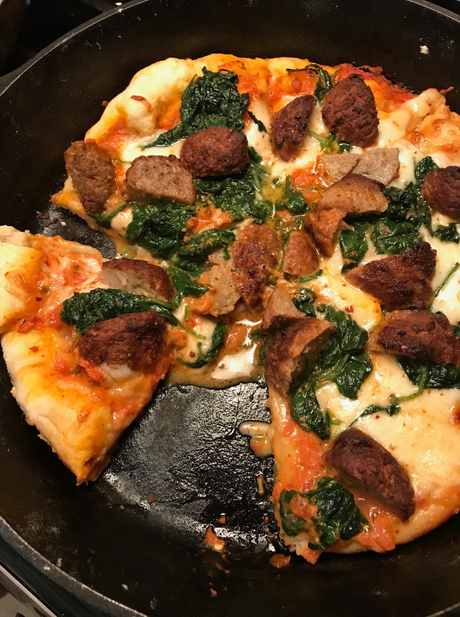 Meatball and Spinach Skillet Pizza