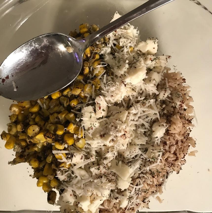 brown rice with mozzarella and corn1