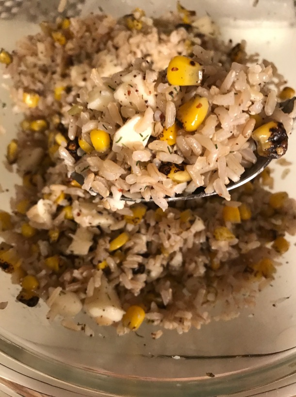 brown rice with mozzarella and corn2