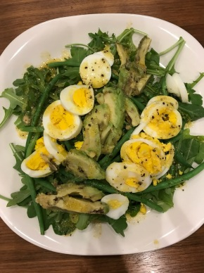 Arugula Salad with Haricots Verts, Egg, and Avocado