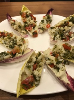 Snickity Snack: Endive with Hummus and Tabbouleh