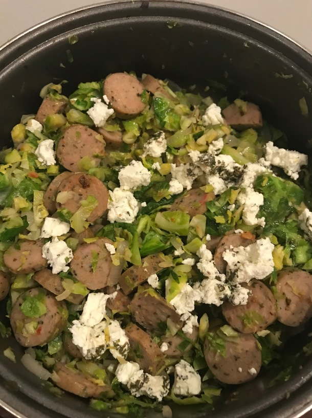 Brussels Sprout Hash with Chicken Sausage, Goat Cheese, and an Egg2