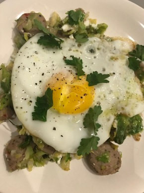 Small Kitchen Cooking: Brussels Sprout Hash with Chicken Sausage, Goat Cheese, and an Egg