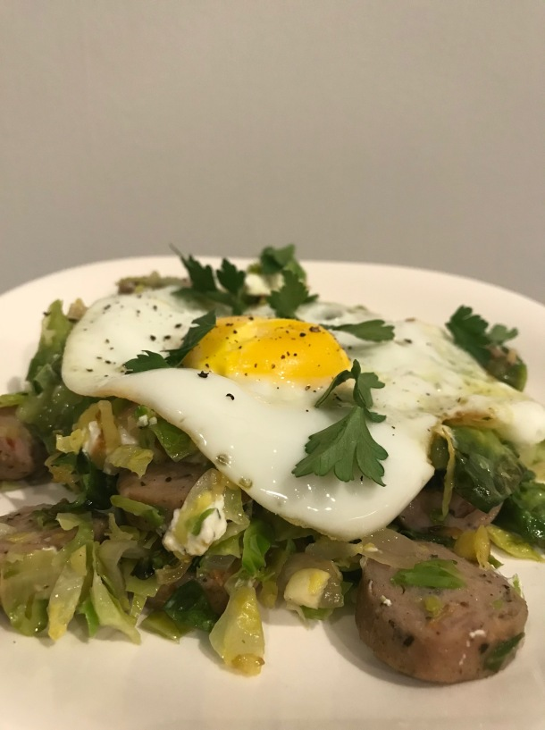 Brussels Sprout Hash with Chicken Sausage, Goat Cheese, and an Egg5