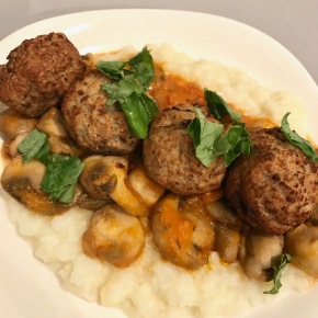 Small Kitchen Cooking: Meatballs Over Mashed Cauliflower with Mushrooms