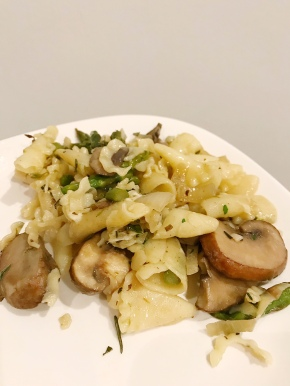 Pasta with Herb Butter, Cremini Mushrooms, and Asparagus