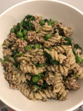 Fusili with Sausage, Baby Kale, Peas, and Pesto
